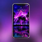 Neon palms landscape: Pyramid (synthwave/vaporwave/retrowave/cyberpunk) — Phone Wallpaper — Digital Download