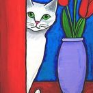 White Cat and Red Tulips - free shipping, Print Shelagh Duffett