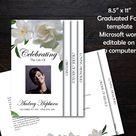 Funeral Program Template 8 pages | 8 Page Bi-Fold Graduated Funeral Program | Memorial Program Template | White Gardenias