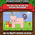 Mineventure Pin the Tail on the Pig V2  Printable Party Game   Etsy