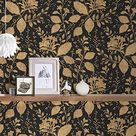 A.S. Création 329863 32986-3 Memory 3 Papier peint intissé Motif floral Noir métallisé 10,05 m x 0,53 m