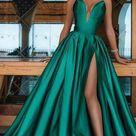 Plunge Sexy Emerald Evening Dress 2021