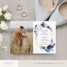 Photo save the date, Add your own photo template, Dusty blue save the dates DIY save the date wedding template 1221 12
