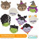 Cute Halloween Faces SVG Files Collection for Cricut, Silhouette Cameo