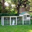 Boomer & George White Wash Outdoor Rabbit Hutch with Extended Run - Rabbit Cages & Hutches at Hayneedle