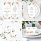Coral and Blush Pink Floral Wedding Invitation Template | Etsy