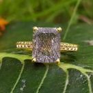Black Rutile Quartz Solitaire Ring-Emerald Cut Black Rutilated Quartz Halo Ring-Black Rutile Vintage Engagement Ring-925 Sterling Silver-83