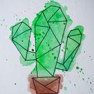 Watercolour Geometric Cactus Unframed Painting  Original | Etsy