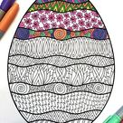 Wavy Easter Egg - PDF Coloring Page