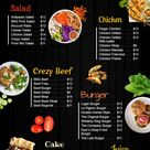 Black digital signage catering menu template idea
