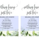 Nothing Fancy just Love Wedding Invitation Template, Editable,Printable, Greenery, Wedding Announcement,Elopement,we eloped - Melissa