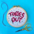 Tories Out graffiti style political cross stitch kit - Modern left wing cross stitch art, gift boxed with hoop, threads, needle and pattern