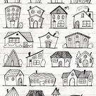 Doodle House Clipart - House vector Art - Home - House - City - Town - House PNG - Home Vector Download - House illustrations - 101