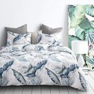 Bayou Breeze Leaves Comforter Set, 100% Cotton Fabric w/ Soft Microfiber Fill Bedding in White, Size Queen Comforter + 2 Standard Pillowcases