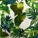 Rod Pocket Top Patio Curtain Panel Outdoor Drapery, Botanical green print, Jade Inky large leaves porch Tropic, Drapes decor Palms leaf