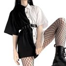 Loose Gothic Dress / Alternative Fashion Goth Women Dress with Turn Down Collar / 90s Party Clothes