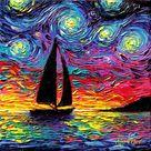 Come Sail Away, Sailboat Starry Night Art CANVAS print ocean sunset boat artwork by Aja choose size coastal seascape home decor wall art