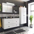 Badezimmer Landhausstil Badmöbel Sets mit Doppelwaschtisch inkl. Badschränke - Made in Germany