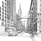 Wallpaper Mural New York -NYC yellow taxis mural - New York murals wallpaper for teen - NYC drawing  wall mural - drawing city - NYC