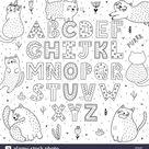 Alphabet noir et blanc avec drôle de chats. Abc à colorier. Vector illustration Image Vectorielle Stock - Alamy