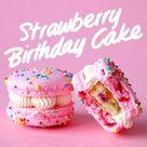 Strawberry Birthday Cake Macarons