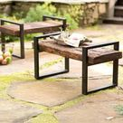 Reclaimed Wood And Iron Outdoor Bench - Bronze | PlowHearth