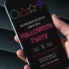 Halloween Invitation, Squid Game Inspired, Editable Template, Electronic Digital Invitation