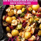 Garnelen-Pfanne mit Kartoffeln und Oliven