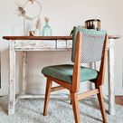 Old farm table two drawers - farm table - desk - wooden console - white patina
