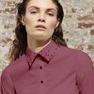 POWER DRESSING PATCHWORK BUTTON DOWN - 6 / Berry