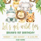Cute Jungle Safari Animals 1st Birthday Party Invitations