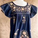 Magnolia Dress - Navy & Beige Midi Dress with Ruffled Sleeves - Medium