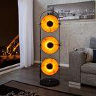 Elegante Stehlampe STUDIO 130cm schwarz Blattgold-Optik 3 neigbare...