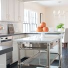 French Marble Top Kitchen Island - Transitional - Kitchen