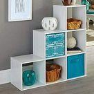 Details about White Wooden 6 Cube Bookcase Storage Organizer 3-2-1 Shelving Bookshelf Decor
