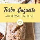 Für die Grillzeit Schnelles Baguette mit Olive und Tomate