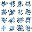 Custom Dutch tiles with hand-painted Frisian flowers