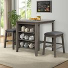 Gracie Oaks Dining Table Set Wood/Upholstered Chairs in Brown/Gray, Size 35.8 H x 29.5 W x 36.0 D in   Wayfair