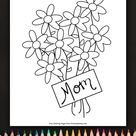 Flowers For Mom Coloring Page • FREE Printable eBook