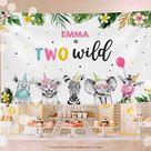 Editable Digital Download Safari Animal Two Wild Backdrop Pink | Etsy