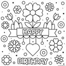 Happy Birthday Coloring Pages Flowers Excelente Sheet Cards For Kids Toddlers Free