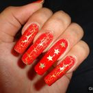 Red and gold nail art fashion
