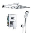 KINWELL Wall Mounted 12 In. Rain Shower Head Zero-Jets High Pressure Shower Combo w/ 2-Functions Shower System In Chrome Gray 86.0 x 12.0 in   W98102CP-12   Wayfair Canada