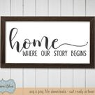 Home Where Our Story Begins svg cut file.  Farmhouse Decor svg.  Family Home Quote svg.  Rustic Home decor svg.  Farmhouse Welcome Sign svg.