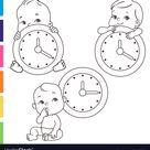 Little bawith clocks time for bachildren vector image on VectorStock