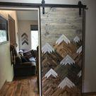 Rustic Wood Mountains Sliding Barn Door
