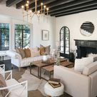 Gorgeous mediterranean style living room decor with white tufted sofa