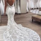Sexy Applique Spaghetti-Strap Wedding Dresses | Backless Mermaid Sleeveless Floral Bridal Gowns | Babyonlinewholesale