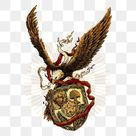 Eagle With Red And White  And Badge, Isolated, American, Bird PNG Transparent Clipart Image and PSD File for Free Download
