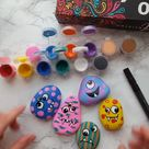Rock painting tutorial with cute monsters. Shop Artistro rock painting kit with 26% off